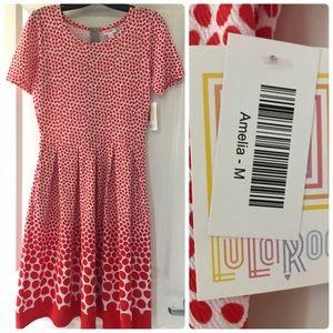 LulaRoe Amelia Dress ❣️ Red & White Gradient Dots